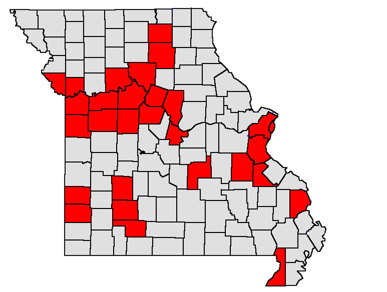 This is a photo of Missouri with counties highlighted that have been impacted by ShowMe Asthma ECHO.